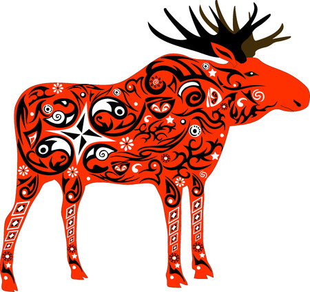 expense: Elk with horns, an animal with a pattern, flowers on an animal, the forest inhabitant, a deer male, wildlife, the isolated elk, big horns, wild fauna Illustration