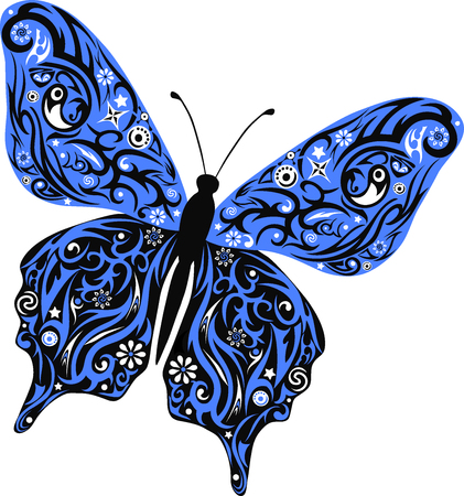 robo: La mariposa vuela, un patrón en las alas, el animal con el dibujo, una ilustración de una polilla, moles con el diseño, la vida silvestre, una decoración con flores, dibujo de un insecto decorada robó, un pequeño insecto pequeño, Vectores