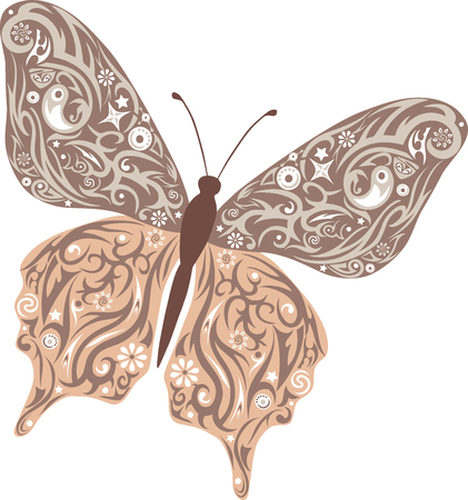 stole: The butterfly flies, a pattern on wings, the animal with drawing, an illustration of a moth, mol with design, wildlife, a decor with flowers, drawing of an insect decorated stole, a small small insect, Illustration
