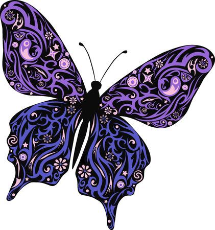 stole: La mariposa vuela, un patrón en las alas, el animal con el dibujo, una ilustración de una polilla, moles con el diseño, la vida silvestre, una decoración con flores, dibujo de un insecto decorada robó, un pequeño insecto pequeño, Vectores