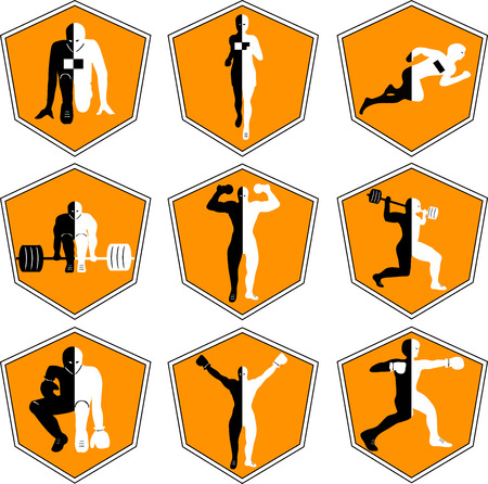 The emblem with the athlete, a sport logo, the runner on start, the person runs, sports training, track and field athletics, weightlifting, a bar raising, exercise with dumbbells, heavy weight, sports shoes, the boxer in a rack, wrestling , the champion r Logó