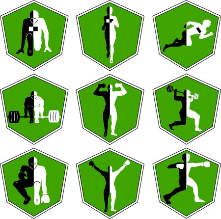 The emblem with the athlete, a sport logo, the runner on start, the person runs, sports training, track and field athletics, weightlifting, a bar raising, exercise with dumbbells, heavy weight, sports shoes, the boxer in a rack, wrestling , the champion r