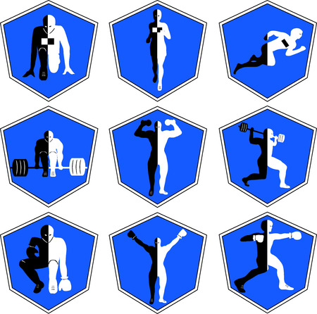 The emblem with the athlete, a sport logo, the runner on start, the person runs, sports training, track and field athletics, weightlifting, a bar raising, exercise with dumbbells, heavy weight, sports shoes, the boxer in a rack, wrestling , the champion r Stock fotó - 47662080