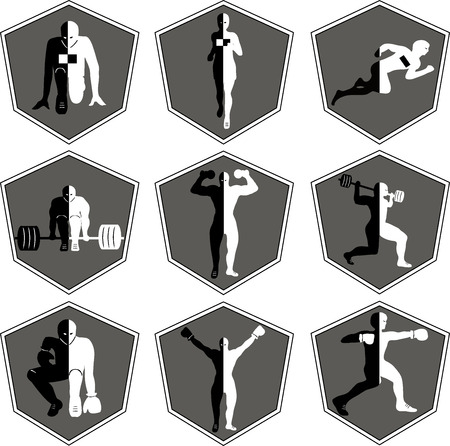 sports bar: The emblem with the athlete, a sport logo, the runner on start, the person runs, sports training, track and field athletics, weightlifting, a bar raising, exercise with dumbbells, heavy weight, sports shoes, the boxer in a rack, wrestling , the champion r