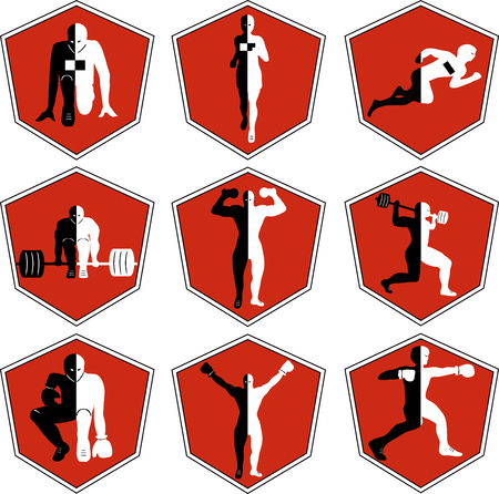 sports training: The emblem with the athlete, a sport logo, the runner on start, the person runs, sports training, track and field athletics, weightlifting, a bar raising, exercise with dumbbells, heavy weight, sports shoes, the boxer in a rack, wrestling , the champion r