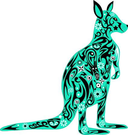 kangaroo white: The kangaroo Australian, a country symbol, a wild animal, an animal with drawing, an illustration of a marsupial, a mammal can jump, a long tail, wildlife, a kangaroo a vector