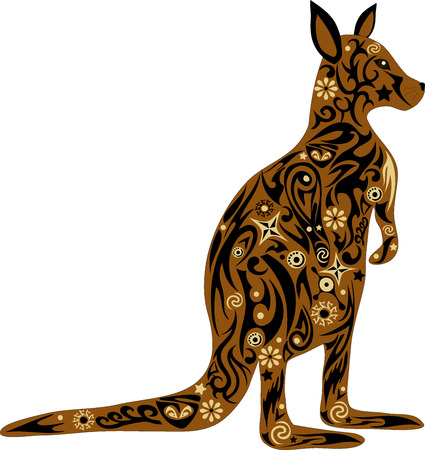 marsupial: The kangaroo Australian, a country symbol, a wild animal, an animal with drawing, an illustration of a marsupial, a mammal can jump, a long tail, wildlife, a kangaroo a vector