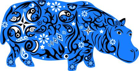 clumsy: Ippopotamo un animale con un modello da fiori e linee, a hypostalemates un animale esotico di latitudini meridionali, un goffo animale con un grande peso, un mammifero selvatico con una pelle spessa, una illustrazione ippopotamo con disegno su un corpo, Vettoriali
