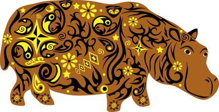 maldestro: Ippopotamo un animale con un modello da fiori e linee, a hypostalemates un animale esotico di latitudini meridionali, un goffo animale con un grande peso, un mammifero selvatico con una pelle spessa, una illustrazione ippopotamo con disegno su un corpo, Vettoriali