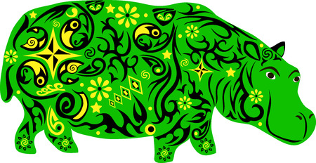 clumsy: Hippopotamus an animal with a pattern from flowers and lines, to hypostalemates an exotic animal of southern latitudes, a clumsy animal with a big weight, a wild mammal with a thick skin, a hippopotamus illustration with drawing on a body,