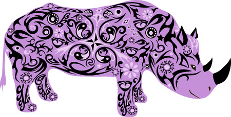 herbivorous animals: rhinoceros with a pattern, an animal with drawing, an illustration of an animal with a horn, a wild mammal, the animal feeding on a grass, the isolated rhinoceros, live fauna, an exotic animal, the southern fauna