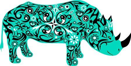 maldestro: rinoceronte con un modello, un animale con il disegno, l'illustrazione di un animale con un corno, un mammifero selvatico, l'alimentazione degli animali su un prato, il rinoceronte isolate, vivono fauna, un animale esotico, la fauna del sud Vettoriali