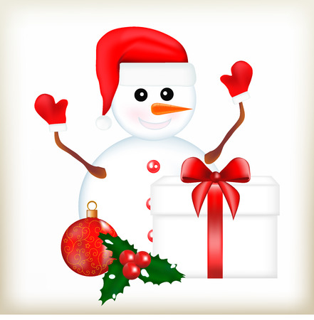red tape: Snowman in a cap, a Christmas-tree decoration, a ball with a pattern, a green mistletoe, red berries, a snowball, hand branches, carrot a nose, a New Years gift, a red tape, a schastlyvy snowman, a Christmas illustration