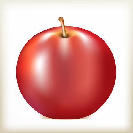 appletree: apple of red color, ripe juicy fruit, apple-tree fruit with a fruit stem, a natural food from a tree, tasty and healthy food, a plant vitamin Illustration