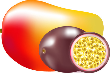 claret: Mango and passion fruit, tasty food, exotic fruit, tropical fruits, healthy food, natural products,