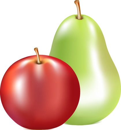 duet: apple red, a pear green, ripe fruit, a subject on a white background, fresh food, a brown fruit stem, a fruit duet, green color, food, wildlife, Illustration
