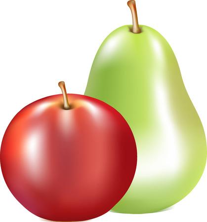 soumis: pomme rouge, un vert de poire, de fruits mûrs, un sujet sur un fond blanc, des aliments frais, une tige de fruit brun, un duo de fruits, de couleur verte, la nourriture, la faune,