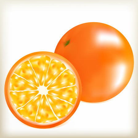 orange fruit: orange round, citrus fruit, a natural fruit, a useful product, an orange circle, an orange peel, juicy pulp, a brilliant side, round grapefruit, is divided into segments, tasty food, the southern fruit Illustration