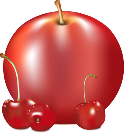 apple of red color, ripe juicy fruit, apple-tree fruit with a fruit stem, a natural food from a tree, tasty and healthy food, a plant vitamin, cherry red, berry ripe, sweet cherry with droplets, berry lies on one side , a shank green, a brown fruit stem,