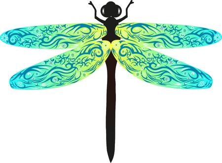 fauna: Dragonfly with wings, an animal with drawing, an insect from fields, wildlife, an animal with a pattern, a flower on a dragonfly, Illustration