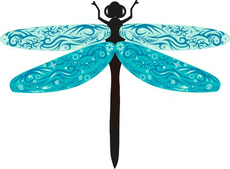eye pad: Dragonfly with wings, an animal with drawing, an insect from fields, wildlife, an animal with a pattern, a flower on a dragonfly, Illustration
