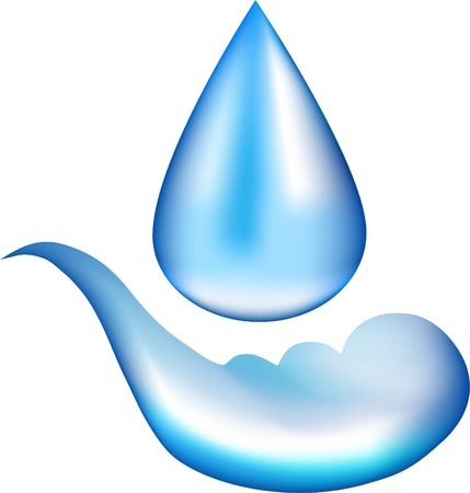 proceed: Water in a drop, blue liquid to pour substance, a moisture droplet, the source symbol, mineral water, collecting liquid, natural dew flows from above, Illustration