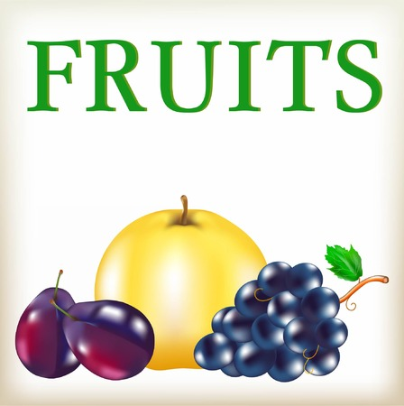 still life food: Fruit of yellow and violet color, ripe blue plums, big cluster of large grapes, apple of yellow color, useful food, sweet summer fruits,