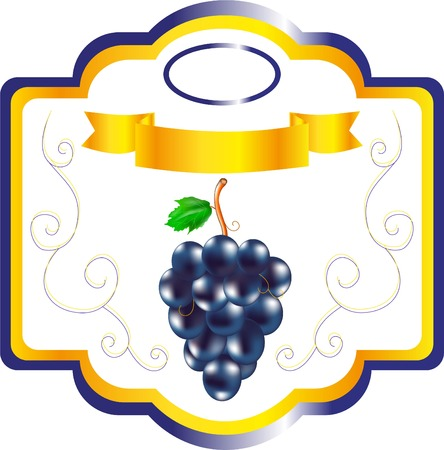 food preservation: Label for jam grape, sweet fruit on packing, a label for wine, an emblem for cookery of grapes, a decorative element, packing berries Illustration