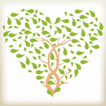 De bruine boom met bladeren, bladeren van de groene kleur, gebladerte in de vorm van een hart, een interlacing van boomstammen op een boom, gebladerte worden gedraaid vanuit een wind, een symbool van de natuur en de liefde Stock Illustratie