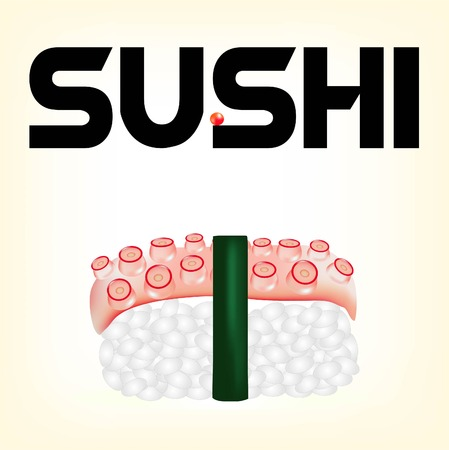 susi: sushi tasty Japanese food, sushi with a fresh octopus, snack with fish, red caviar - a delicacy, a useful food product from the sea, seafood with rice, rice with a feeler of an octopus