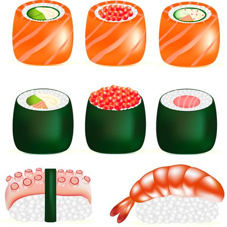 useful: sushi tasty Japanese food, sushi with a fresh shrimp, snack with fish, red caviar - a delicacy, a useful food product from the sea, seafood with rice, a rice block from above-mentioned shrimps, a feeler of an octopus, a green leaf to a hole Illustration