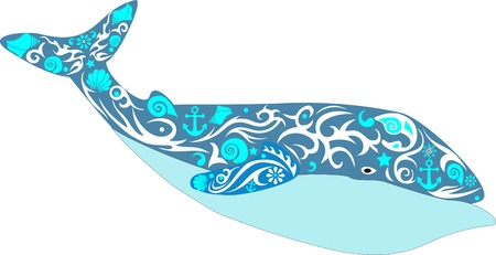 cachalot: whale a bright illustration, a sea animal with a tail, the mammal living in the sea, the leviathan with a sea pattern, an ornament from cockle shells and flowers, large deep-water fish, a design decor on an animal