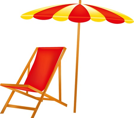chaise lounge: The red chaise lounge, the vacation spot to sunbathe in shadows, a striped umbrella, a canopy from the sun, beach rest, wooden furniture, summer stock, appearance,