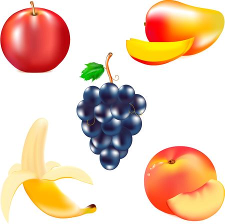 darkly: Mature juicy fruit, red mature apple, yellow banana, grapes cluster, tasty peach, piece of fruit, the torn thin skin, brown fruit stem in fruit, fresh products, are a large amount of vitamins, healthy food Illustration