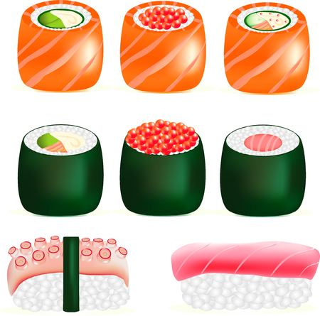 feeler: sushi tasty Japanese food, sushi with a fresh shrimp, snack with fish, red caviar - a delicacy, a useful food product from the sea, seafood with rice, a feeler of an octopus, a green leaf to a hole