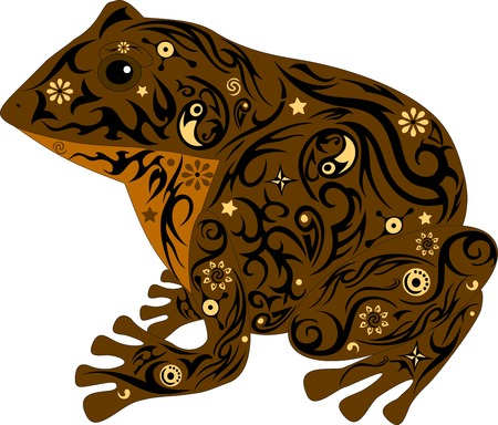 amphibious: the toad with a pattern, a frog sits, an animal with design, the marsh inhabitant, an amphibious animal, the wild nature, a decor from flowers, the isolated toad, the image of a frog