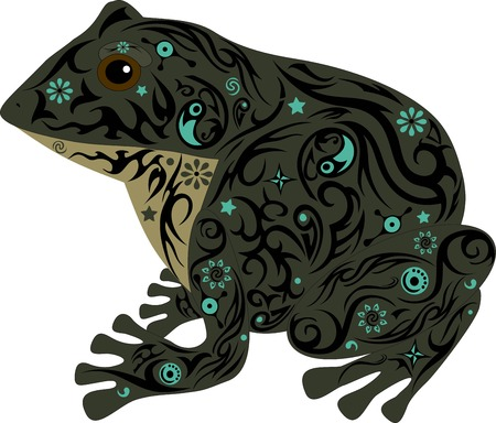 marsh: the toad with a pattern, a frog sits, an animal with design, the marsh inhabitant, an amphibious animal, the wild nature, a decor from flowers, the isolated toad, the image of a frog