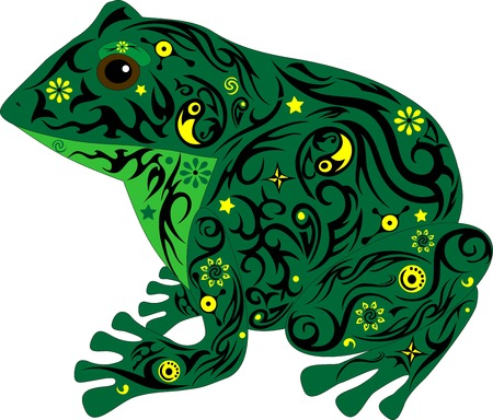 sits: the toad with a pattern, a frog sits, an animal with design, the marsh inhabitant, an amphibious animal, the wild nature, a decor from flowers, the isolated toad, the image of a frog