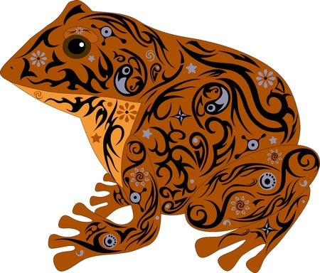 sits: the toad with a pattern, a frog sits, an animal with design, the marsh inhabitant, an amphibious animal, the wild nature, a decor from flowers, the isolated toad, the vector image of a frog Illustration