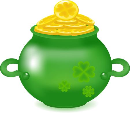 good luck symbol: The green pot, wealth symbol, gold coins, the Irish holiday, St. Patricks Day an icon, is a lot of money, a copper with gold, brings good luck, a happy plant, a deep pot, the mountain of precious metal, clover green