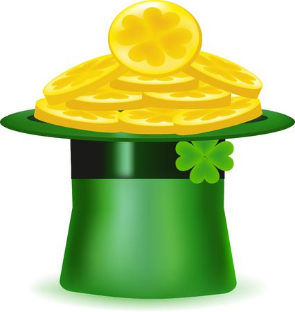 deeply: The green hat, wealth symbol, gold coins, the Irish holiday, St. Patricks Day a symbol, is a large number of money, copper with gold, brings good luck, the happy sheet, a deep headdress, the mountain of precious metal, a green clover Illustration