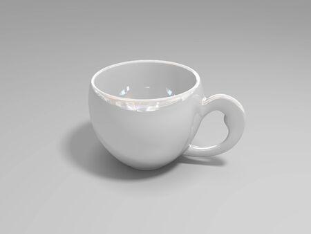 soumis: la coupe est blanche, la porcelaine, le verre opaque, un sujet par jour, la coupe isolé, est destiné à la boisson, une tasse vide, un fond gris, Banque d'images