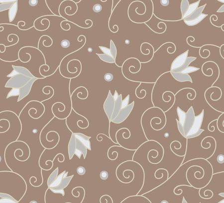 sample: Sample with flowers, seamless structure, a graphic sample, ornament, a vector illustration, a flower petal, a fabric sample, pale color, a background of coffee color, gray flowers,