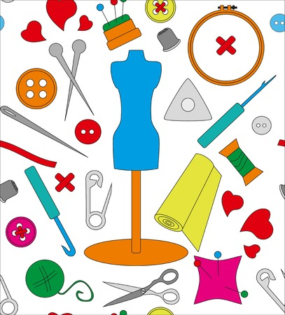 spokes: Pattern needlework, seamless structure, a graphic sample, objects for an embroidery, a vector illustration, fabric with a pattern, a sewing set, a dummy for clothes, design in amateur style, threads and buttons, spokes and a hook, objects for sewing