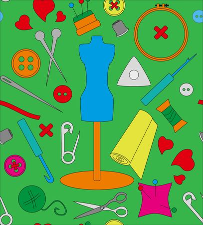 Pattern needlework, seamless structure, a graphic sample, objects for an embroidery, a vector illustration, fabric with a pattern, a sewing set, a dummy for clothes, design in amateur style, threads and buttons, spokes and a hook, objects for sewing