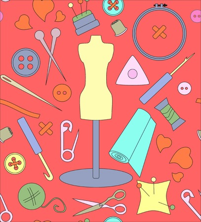 hank: Pattern needlework, seamless structure, a graphic sample, objects for an embroidery, a vector illustration, fabric with a pattern, a sewing set, a dummy for clothes, design in amateur style, threads and buttons, spokes and a hook, objects for sewing
