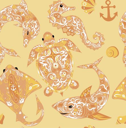 ringlet: Pattern with marine animals, the sea a deep-water turtle, a dolphin with a pattern on a body, a slope with drawing, a sea horse, the animal living the sea, a sink of a mollusk, a vector shark, sea fauna, a background with fishes