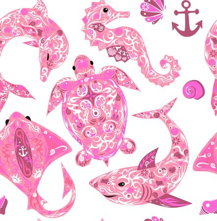 mollusk: Pattern with marine animals, the sea a deep-water turtle, a dolphin with a pattern on a body, a slope with drawing, a sea horse, the animal living the sea, a sink of a mollusk, a vector shark, sea fauna, a background with fishes