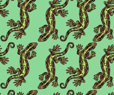 reptile skin: Lizard a pattern, a reptile with a pattern, seamless drawing, skin with flowers, an animal a vector, the line on a back, the wild nature, exotic fauna, a long tail, an illustration a pangolin Illustration