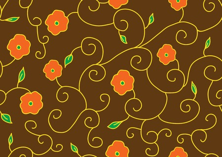 for example: Example of flowers for fabric, seamless structure, a graphic element of design, a petal of the blossoming flower, plants interwoven into standard, botanical decoration, a vector pattern, Illustration